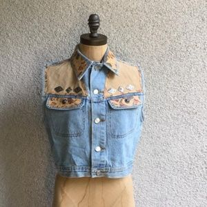 Streets Ahead Denim Vest With Leather Patchwork